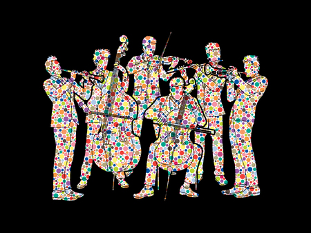 Orchestra player design using colorful halftone pattern graphic vector Illustration