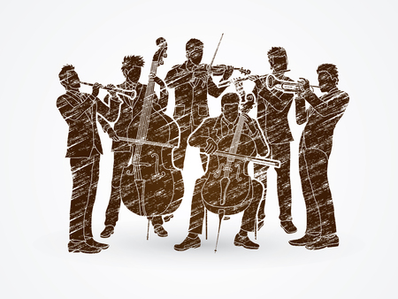 clarinet player: Orchestra player design using brown grunge brush graphic vector