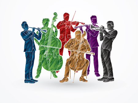 Orchestra player design using colorful grunge brush graphic vector