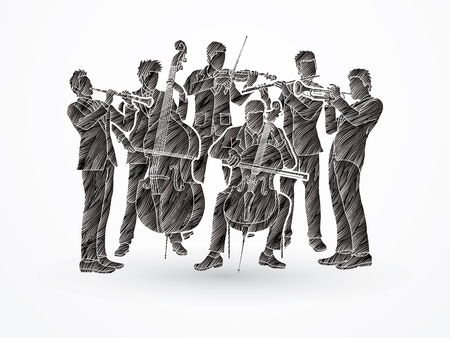 symphonic: Orchestra player design using black grunge brush graphic vector