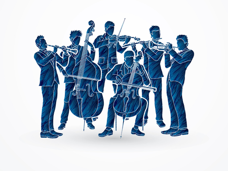 cellist: Orchestra player design using blue grunge brush graphic vector
