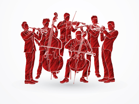 Orchestra player design using red grunge brush graphic vector