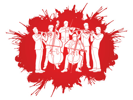 Orchestra player design on splatter color  background graphic vector