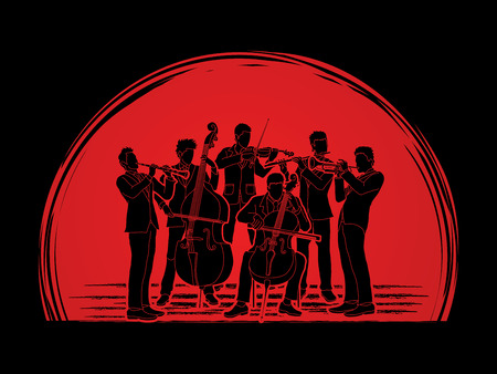 symphonic: Orchestra player design on sunset background graphic vector Illustration