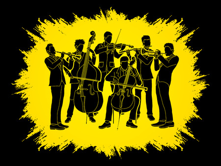 clarinet player: Orchestra player design on grunge frame background graphic vector Illustration
