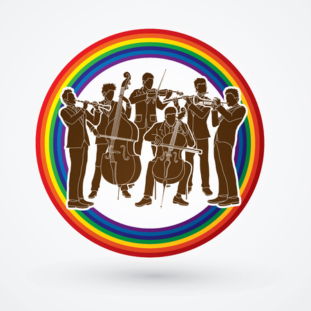 Orchestra player design on line rainbows background graphic vector Illustration
