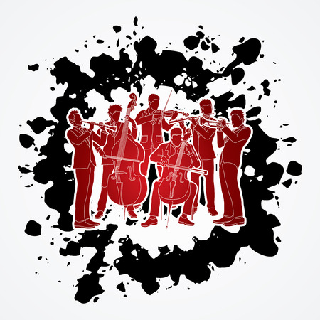 Orchestra player design on splatter ink background graphic vector Illustration