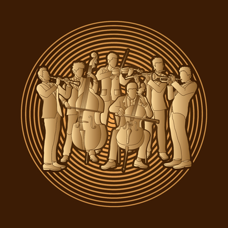 symphonic: Orchestra player design on golden light graphic vector Illustration