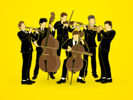 clarinet player: Orchestra player graphic vector Illustration