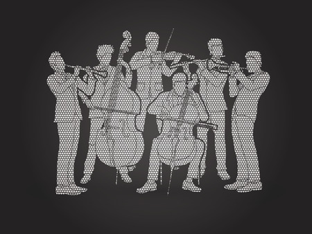 Orchestra player design using geometric pattern graphic vector