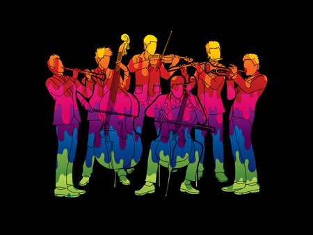 clarinet player: Orchestra player design using melt colors graphic vector