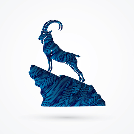 Ibex standing on the cliff designed using blue grunge brush graphic vector