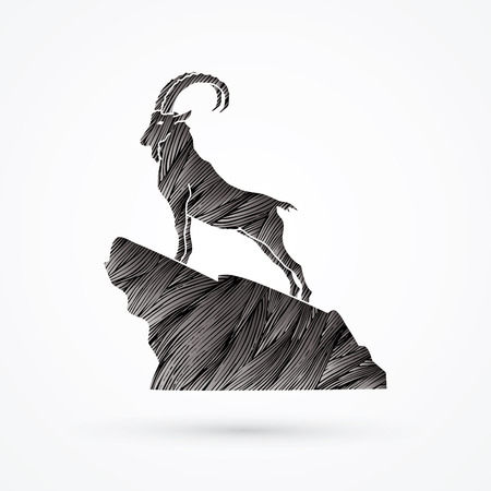 Ibex standing on the cliff designed using black grunge brush graphic vector.