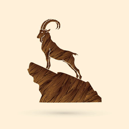 Ibex standing on the cliff designed using brown grunge brush graphic vector.