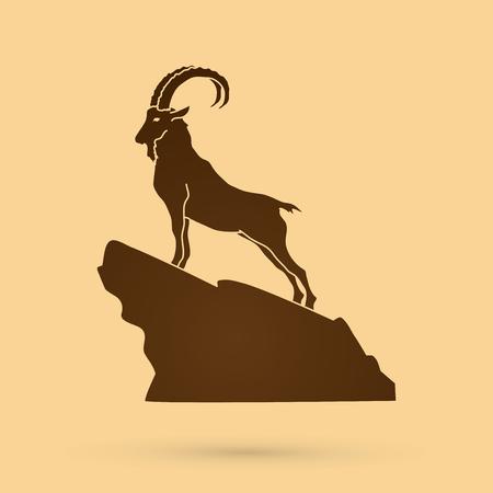 Steenbok staan op de klif grafische vector.