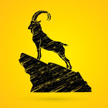 capra: Ibex standing on the cliff designed using grunge brush graphic vector.