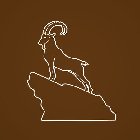 Ibex standing on the cliff outline graphic vector Illustration