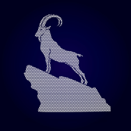 capra: Ibex standing on the cliff designed using geometric pattern graphic vector. Illustration