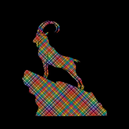 capra: Ibex standing on the cliff designed using colorful pixels graphic vector.
