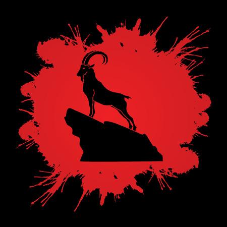 capra: Ibex standing on the cliff designed on splash blood background graphic vector. Illustration
