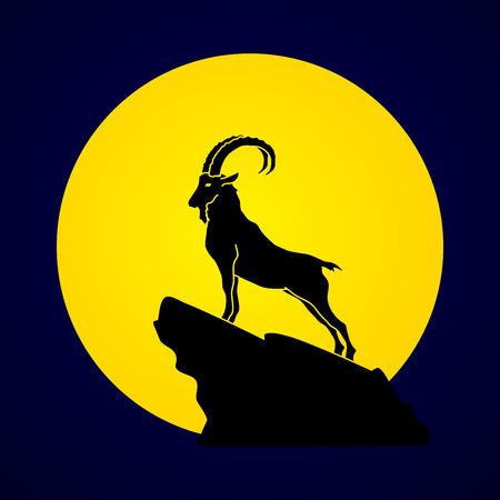 Ibex stehend auf der Klippe auf Mondlicht Hintergrund Vektor-Grafik entworfen.