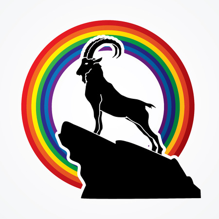 Ibex standing on the cliff designed on rainbow background graphic vector. Illustration