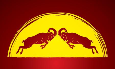 capra: Ibexes fighting designed on moonlight background graphic vector.