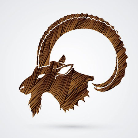 Ibex head with big horn designed using brown grunge brush graphic vector.