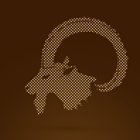 Ibex head with big horn designed using golden dots pixels graphic vector.