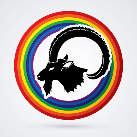 Ibex head with big horn designed on rainbows background graphic vector.