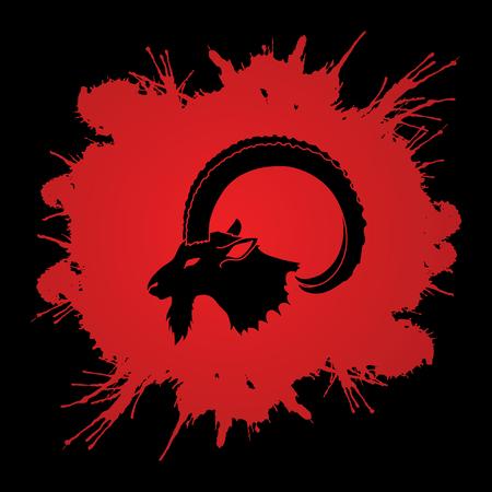 Ibex head with big horn designed on splatter blood background graphic vector. Illustration
