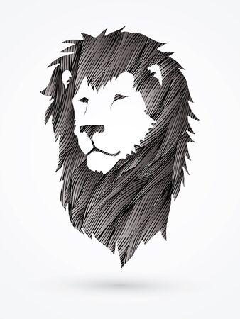 Lion head designed using black grunge brush graphic vector Vektorové ilustrace