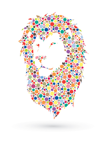 Lion head designed using dots pattern graphic vector