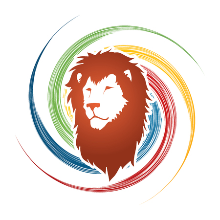 spin: Lion head designed on spin wheel background graphic vector