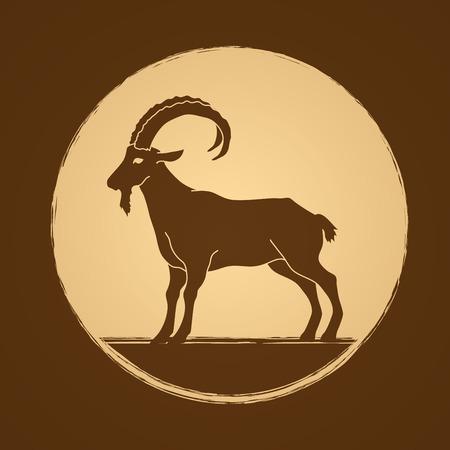Goat standing designed on golden circle background graphic vector. Illustration