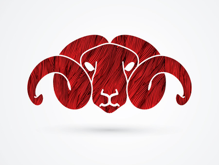 Sheep head with big horn designed using red grunge brush graphic vector. Illustration