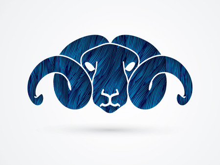 Sheep head with big horn designed using blue grunge brush graphic vector.