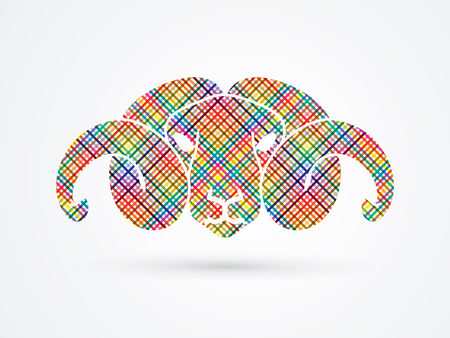Sheep head with big horn designed using colorful pixels graphic vector. Illustration