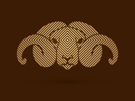 bighorn: Sheep head with big horn designed using line square pattern graphic vector.