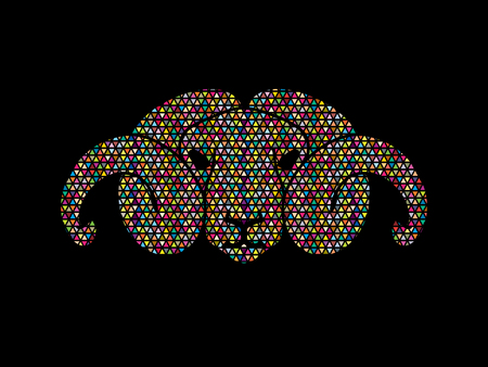 bighorn: Sheep head with big horn designed using colorful mosaic pattern graphic vector. Illustration