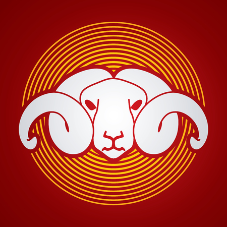 Sheep head with big horn designed on line circle background graphic vector.