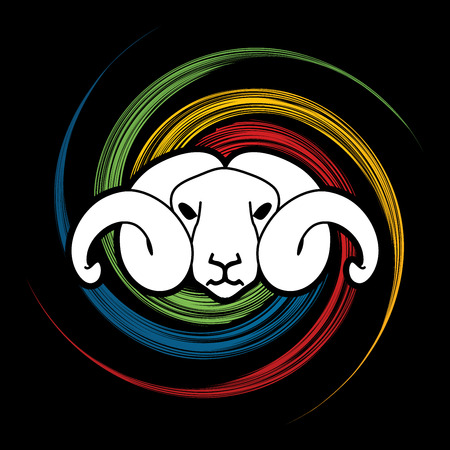 screen printing: Sheep head with big horn designed on spin wheel background graphic vector.