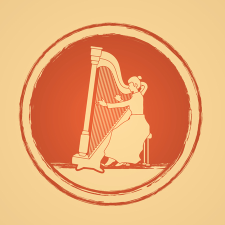 lyra: Harp player designed on bronze circle background graphic vector.