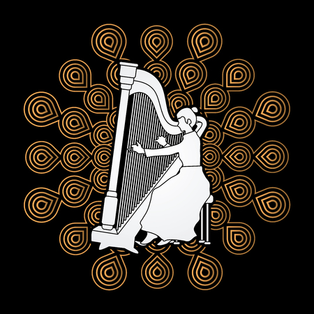 Harp player designed on fireworks background graphic vector.
