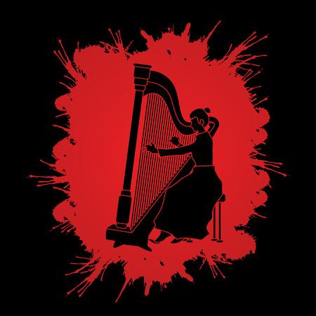 Harp player designed on splatter ink background graphic vector. Illustration