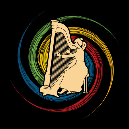 spin: Harp player designed on spin wheel background graphic vector.