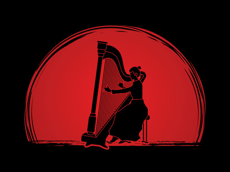 Harp player designed on sunset background graphic vector.