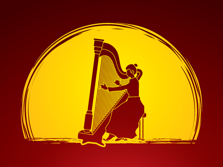 Harp player designed on moonlight background graphic vector.