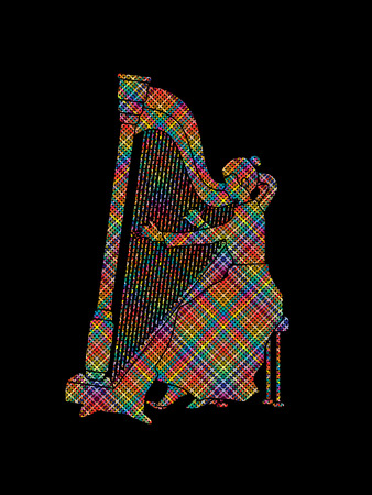melodic: Harp player designed using colorful pixels graphic vector. Illustration