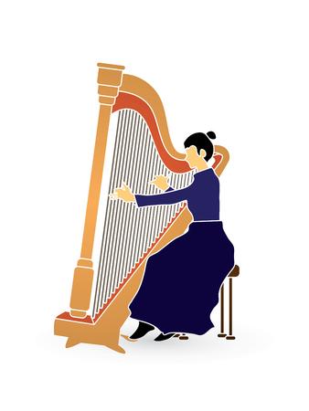 Harp player graphic vector.